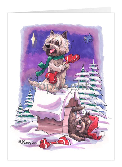 Cairn Terrier - Rooftop - Christmas Card