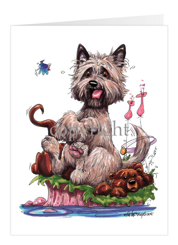Cairn Terrier - Sitting On Otter - Caricature - Card