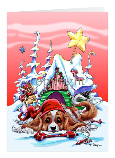 Cavalier King Charles - Doghouse - Christmas Card