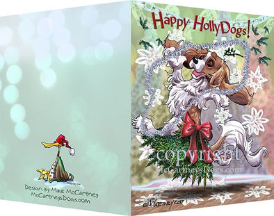 Cavalier King Charles - Happy Holly Dog Pine Skirt - Christmas Card