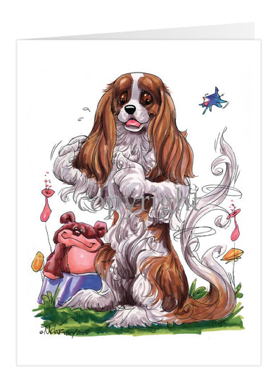 Cavalier King Charles - Sitting Teddy Bear - Caricature - Card