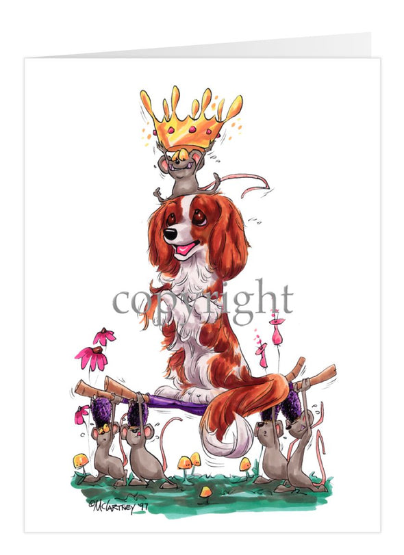 Cavalier King Charles - With Mice And Crown - Caricature - Card