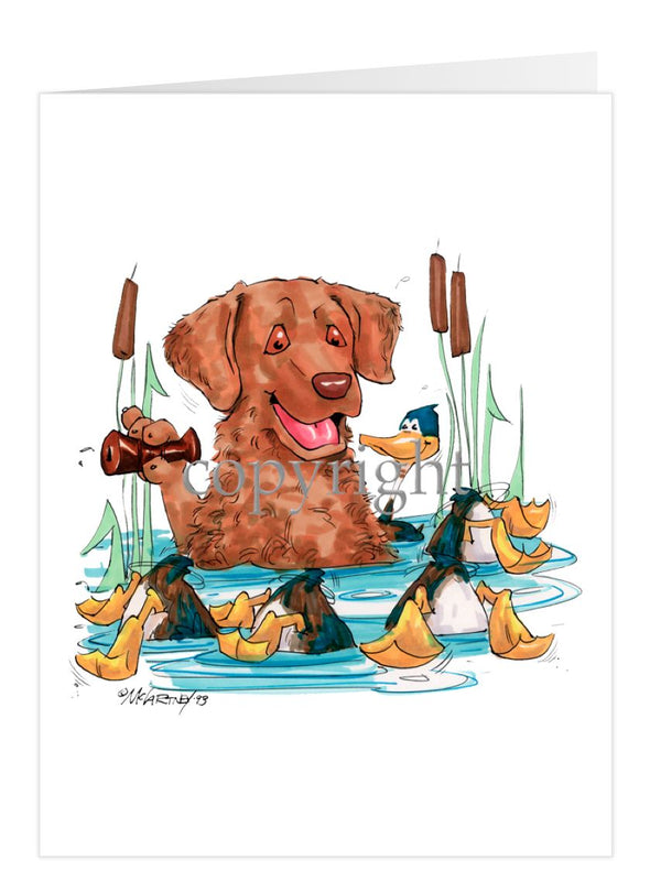 Chesapeake Bay Retriever - Duck Call - Caricature - Card