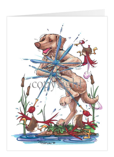 Chesapeake Bay Retriever - Ducks Squirting - Caricature - Card