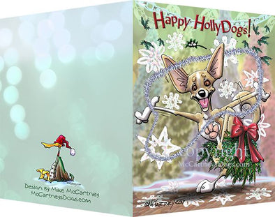 Chihuahua - Happy Holly Dog Pine Skirt - Christmas Card