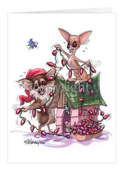 Chihuahua - Tangled Lights - Christmas Card