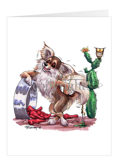 Chihuahua Longhaired - Standing With Dish And Peppers - Caricature - Card