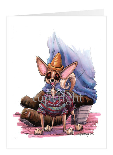 Chihuahua Smooth - Standing With Hat And Sweater - Caricature - Card