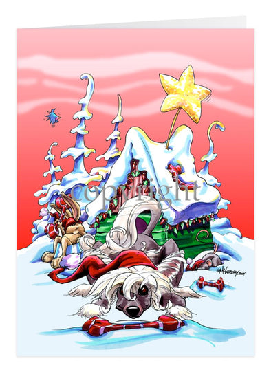 Chinese Crested - Doghouse - Christmas Card