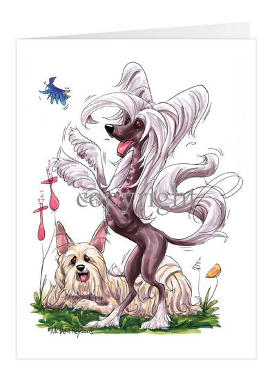 Chinese Crested - Group Standing - Caricature - Card