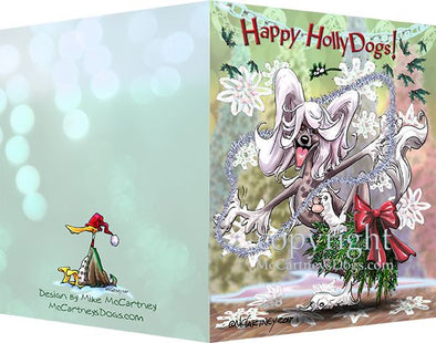 Chinese Crested - Happy Holly Dog Pine Skirt - Christmas Card