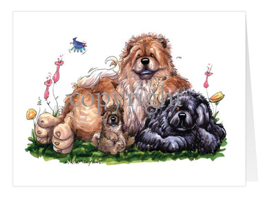 Chow Chow - Group - Caricature - Card