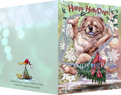 Chow Chow - Happy Holly Dog Pine Skirt - Christmas Card