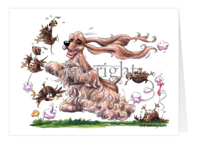 Cocker Spaniel - Chasing Quail - Caricature - Card