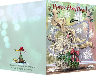 Cocker Spaniel - Happy Holly Dog Pine Skirt - Christmas Card