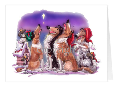 Collie - Caroling - Christmas Card