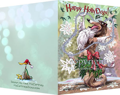 Collie - Happy Holly Dog Pine Skirt - Christmas Card