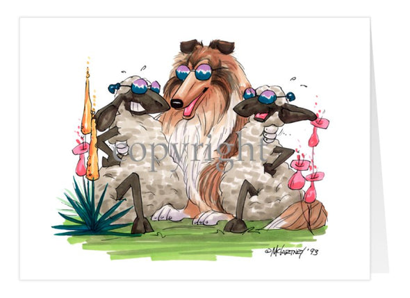 Collie - Hugging Sheep - Caricature - Card