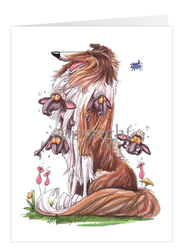 Collie - Sitting With Sheep In Fur - Caricature - Card