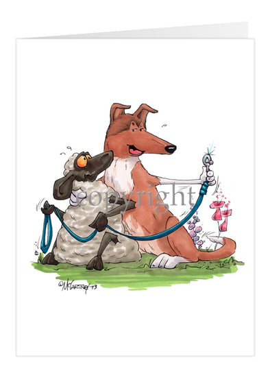 Collie Smooth - Hugging Sheep With Leash - Caricature - Card