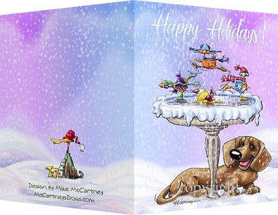 Dachshund - Frozen Bird Bath - Christmas Card