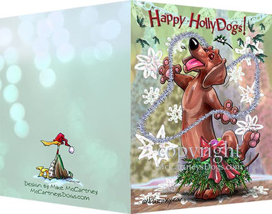 Dachshund - Happy Holly Dog Pine Skirt - Christmas Card