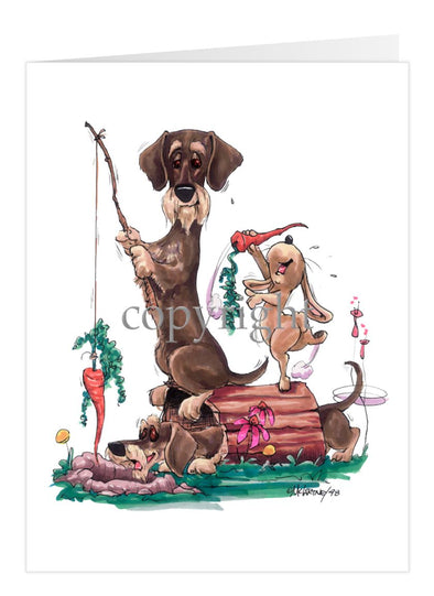 Dachshund Wirehaired - Fishing With Carrot - Caricature - Card