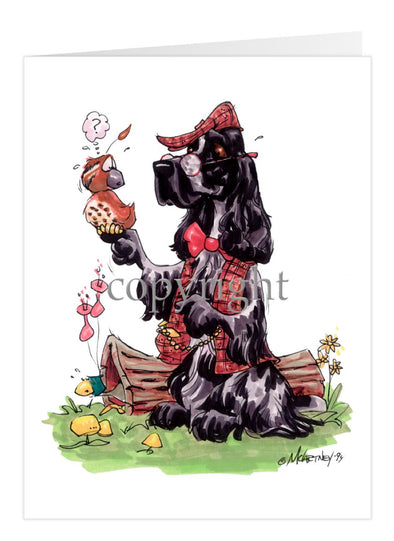 English Cocker Spaniel - Holding Quail - Caricature - Card