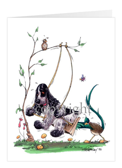 English Cocker Spaniel - Swing - Caricature - Card