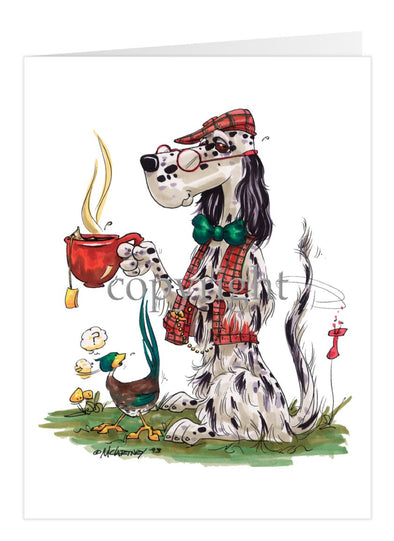 English Setter - Cup Of Tea - Caricature - Card