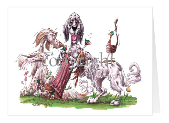 English Setter - Group Hollow Log And Pheasants - Caricature - Card