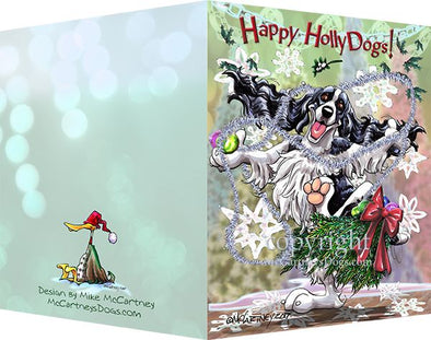 English Springer Spaniel - Happy Holly Dog Pine Skirt - Christmas Card