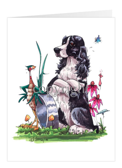 English Springer Spaniel - Sitting By Bowl With Pheasant - Caricature - Card