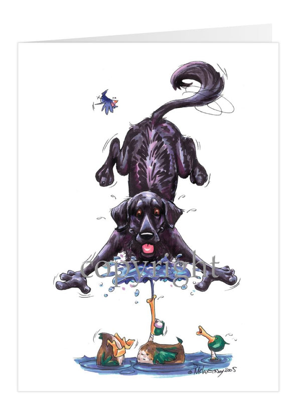 Flat Coated Retriever - Duck Squirting Water - Caricature - Card