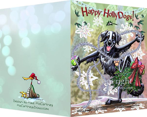 Flat Coated Retriever - Happy Holly Dog Pine Skirt - Christmas Card