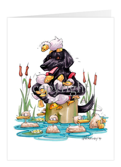Flat Coated Retriever - Waders - Caricature - Card