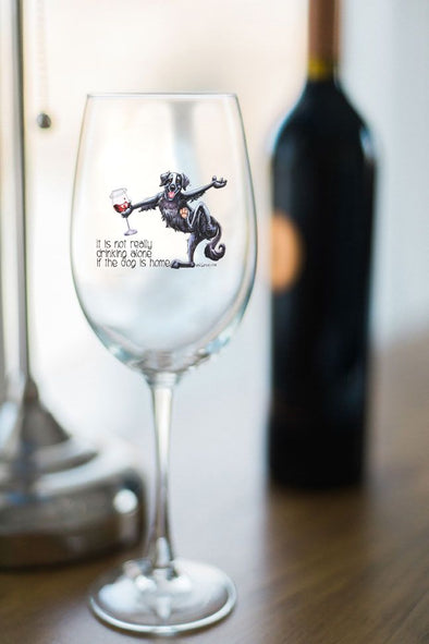 Flat Coated Retriever - Its Not Drinking Alone - Wine Glass