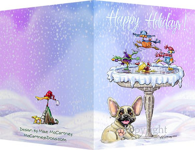 French Bulldog - Frozen Bird Bath - Christmas Card