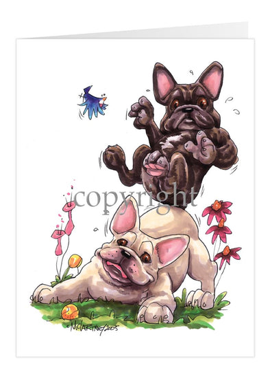 French Bulldog - Group Sitting On Each Other - Caricature - Card