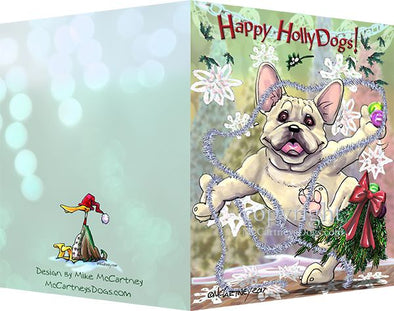 French Bulldog - Happy Holly Dog Pine Skirt - Christmas Card