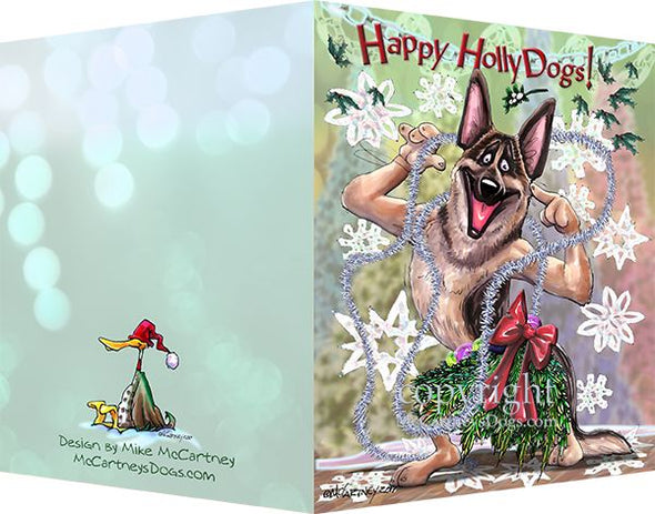 German Shepherd - Happy Holly Dog Pine Skirt - Christmas Card