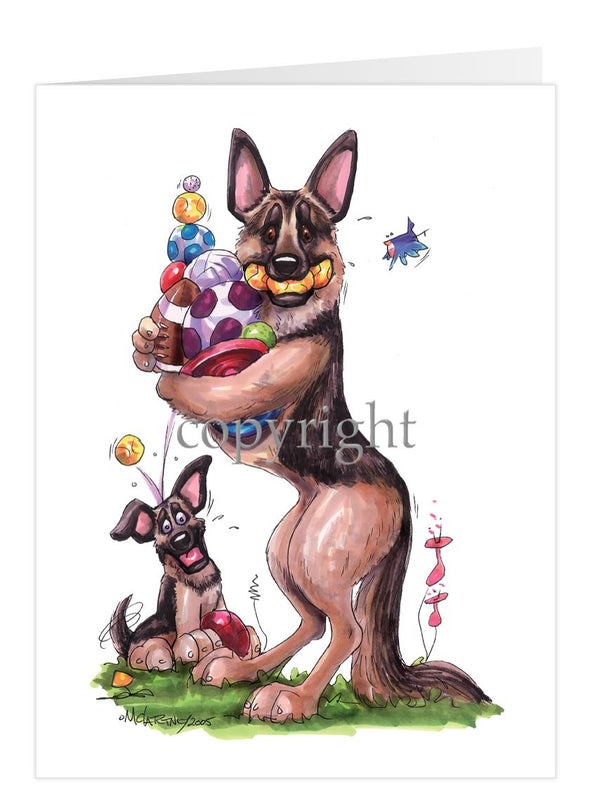 German Shepherd - Holding Balls And Toys - Caricature - Card