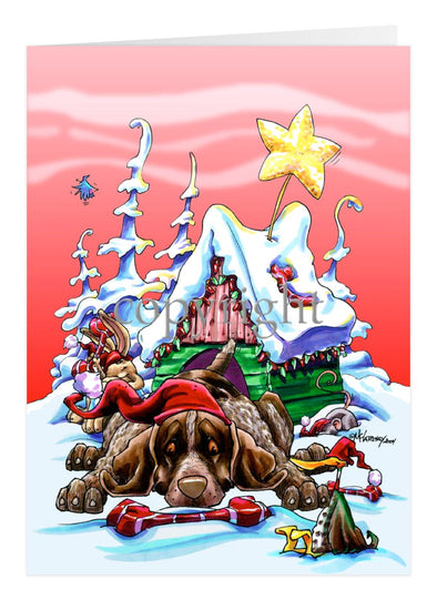 German Shorthaired Pointer - Doghouse - Christmas Card