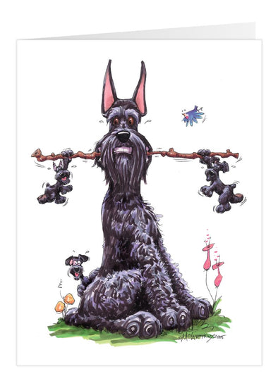 Giant Schnauzer - With Puppies - Caricature - Card