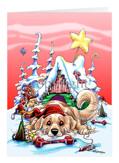 Golden Retriever - Doghouse - Christmas Card