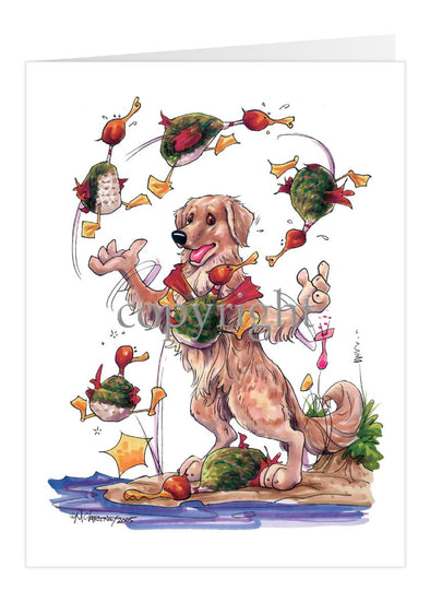 Golden Retriever - Juggling Ducks - Caricature - Card