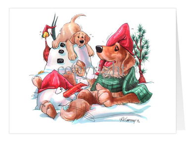 Golden Retriever - Snowman - Christmas Card