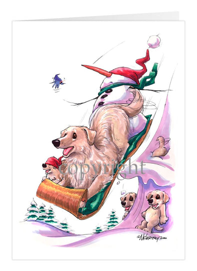 Golden Retriever - Toboggan - Christmas Card