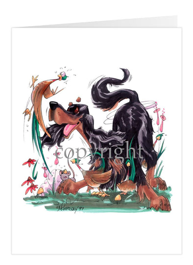 Gordon Setter - Chasing Pheasants - Caricature - Card