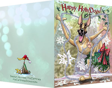 Great Dane - Happy Holly Dog Pine Skirt - Christmas Card
